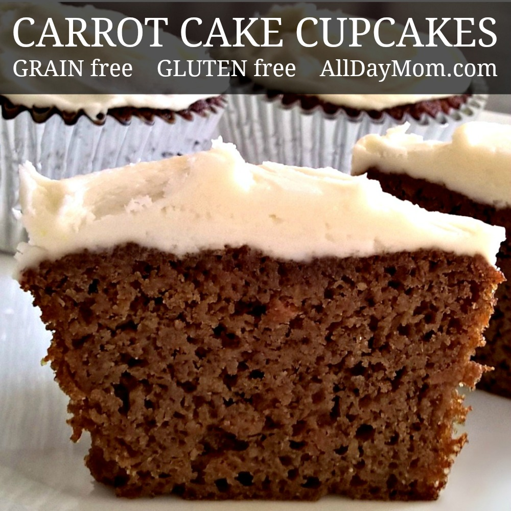 Fluffy Grain Free Carrot Cake Cupcakes with Homemade Cream Cheese ...